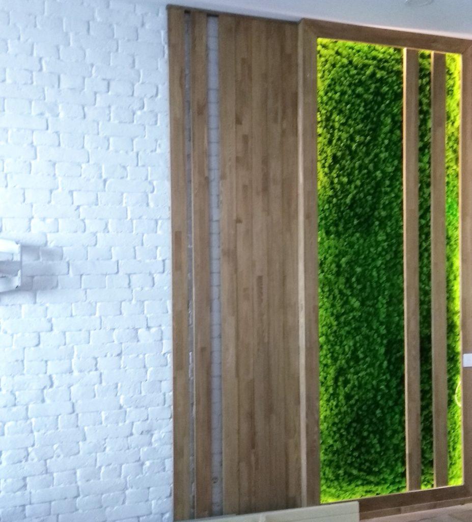 Стабилизированный мох ягель в деревянном коробе со светодиодной подсветкой. Фитостена.